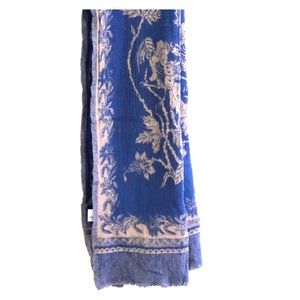 J Crew 100% wool French blue and cream scarf